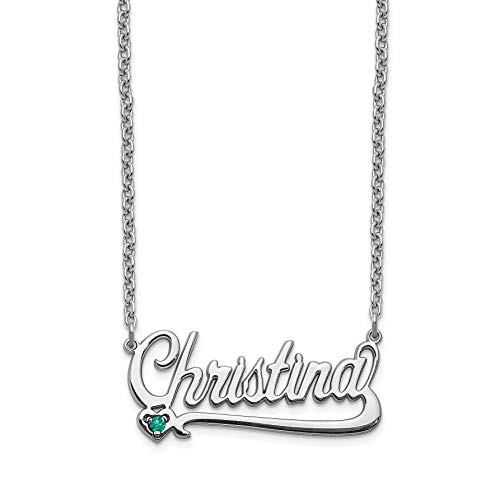 14K White Gold Birthstone Nameplate Personalized Pendant ()