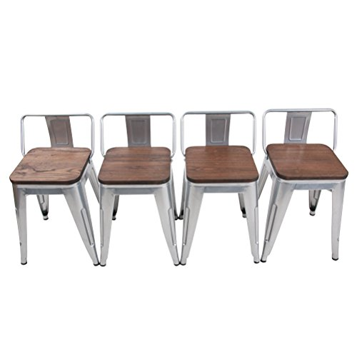 Tongli Metal Barstools Set Industrial Counter Height Stools Pack of 4 Patio Dining Chair Sliver Wooden Seat Low Back 18