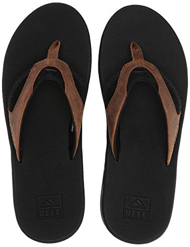 Reef Men's Leather Fanning Sandal, Black/Bronze, 6 Medium US