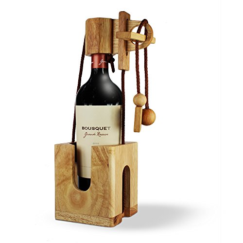 Flaschen-Puzzle aus hellem Edelholz - Geschenk-Verpackung für Weinflaschen - Geduldspiel - Denkspiel - Geschicklichkeitsspiel