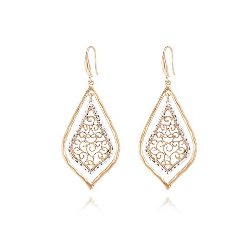 Allison Rose Atelier Two Tone Moroccan Dangle Filigree Boho Fashion Earrings - Fish Hook Closure - Lightweight and Comfortable - Women Fashion Earrings - For Every day and Special -