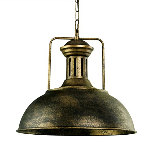 Lingkai Pendant Lighting Industrial Nautical Barn Pendant Light Single with Rustic Dome Bowl Shape Mounted Fixture Ceiling Lamp Chandelier (Painted Bronze 1)