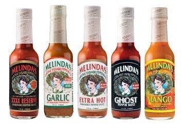 (Melinda's Habanero Hot Sauce Variety 5 Pack (Ghost Pepper,Mango,Garlic,Extra Hot,XXXXtra)