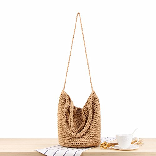 Lady Retro Totes Shoulder Handbag Summer Qinlee Handmade Women for Straw Bucket Bags Handbag Rattan for White Brown Straw Beach Travel Bag c00qrIa