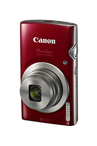 Canon PowerShot ELPH 180 Digital Camera w/Image Stabilization and Smart AUTO Mode (Red) (Best Compact Travel Zoom Camera 2019)