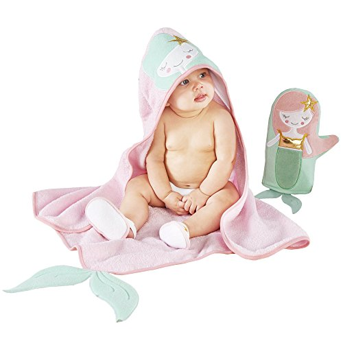 Baby Aspen Simply Enchanted Mermaid 4 Piece Bathtime Gift Set, Pink/Mint/Gold/White, 0-6 Months ()