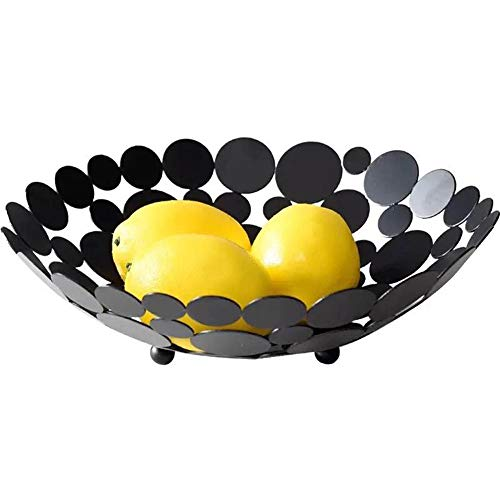 Halloween Fruit Baskets (Metal Creative Countertop Fruit Basket Bowl, Large Round Black Decorative Table Centerpiece Holder Stand for Fruit Vegetable, Bread, Candy and Other Household Items, 11.6 Inch)