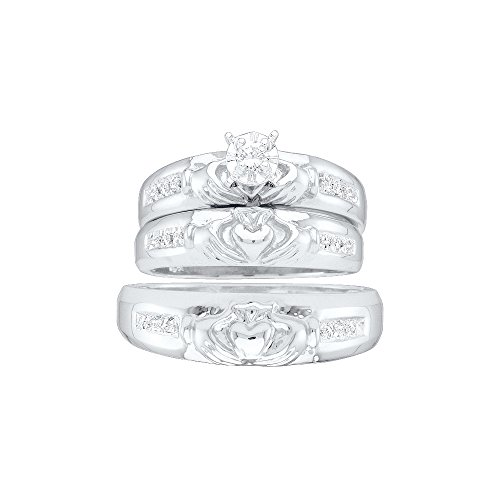 Sizes - L = 8, M = 10 - 10k White Gold Trio His & Hers Round Diamond Claddagh Matching Bridal Wedding Ring Band Set 1/8 Cttw