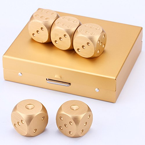 LZWIN 5 in 1 Precision Aluminum Alloy Solid Metal Gold Dice Set Poker Party Game Toy Portable Dice Man Boyfriend Gift