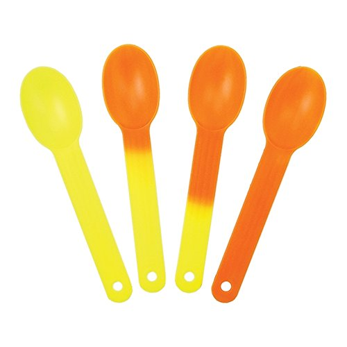 XL Color Changing Plastic Spoons - Changes From Yellow To Orange - Changes Color When Cold! Extra Durable Birthday Party Spoons - Frozen Dessert Supplies - Made in USA! Fast Shipping! 25 Count