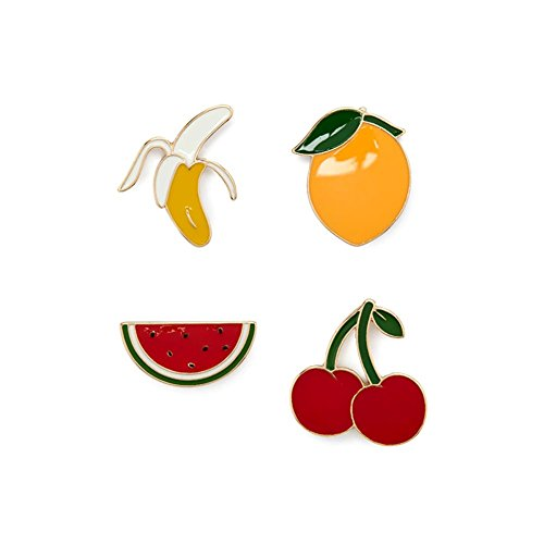 [Cute Fruits Bright Enamel Pin Set Brooches Patches for Clothes/Bags/Backpacks/Jackets] (Fruit Hat Lady)