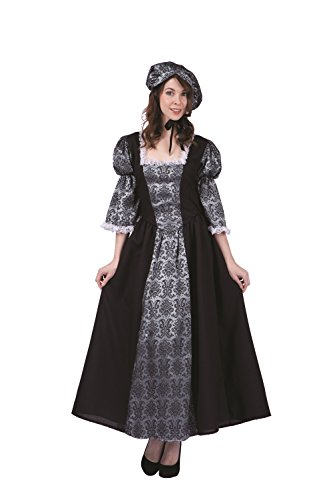 RG Costumes Women's Colonial Lady Charlotte, Black/Silver, -