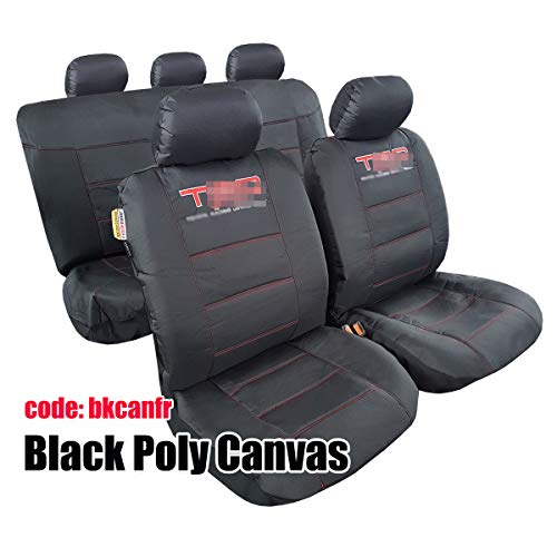 ITAILORMAKER Universal Black/Charcoal Rugged Outback Canvas Embroidery Sports Airbag Car Seat Cover...