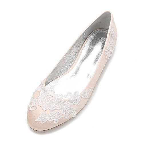 de Chaussures F5049 Court Classique Champagne Fermée Robe Orteil L Bout de Femmes Mariage Fleurs YC Chaussures Rond 16 qZ4H6Zt7