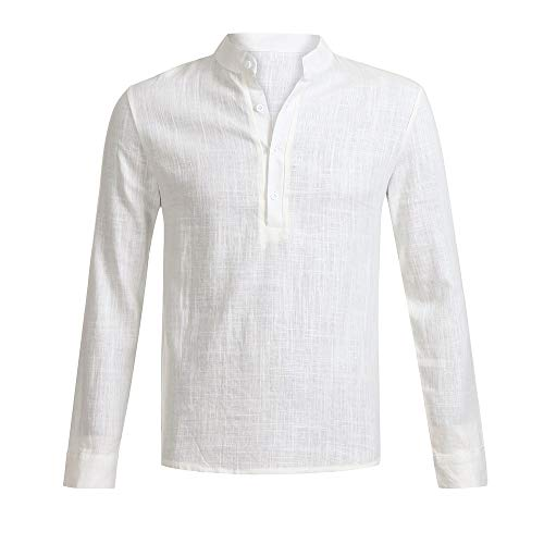 iCODOD Men Fashion Shirt, Summer Solid Linen Long Sleeve V Neck Button Up Male Casual Business Daily Blouse Beige,M