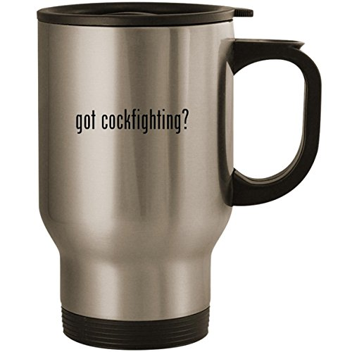got cockfighting? - Stainless Steel 14oz Road Ready Travel Mug, Silver (Balinese Hat)
