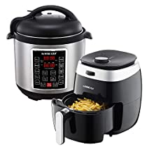 GoWISE USA 3.7-Quart Dial Control Air Fryer (Black, GW22822) + Recipe Book AND GoWISE USA 8-Quart 10-in-1 Electric Pressure Cooker (Stainless Steel, GW22623) + Recipe Book
