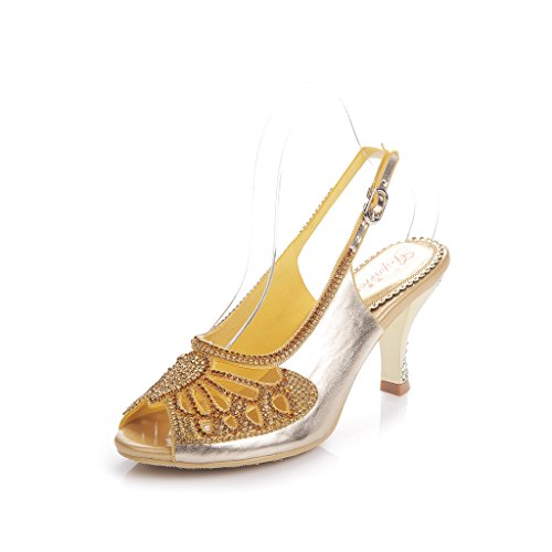 Meijili - Sandalias mujer Heels Gold