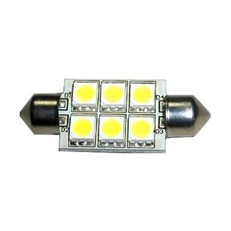 HQRP bombilla festoon 37mm led SMD de 6 LED 5050 (10-30V DC 1.5W) 6000K luz blanca fría, 107 Lumen, lámpara interior / exterior: Amazon.es: Hogar