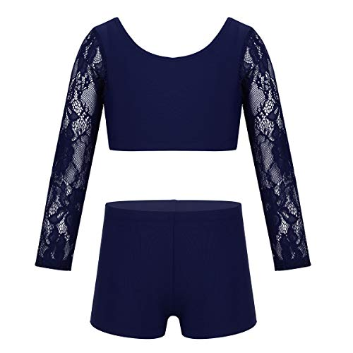 ACSUSS Kids Girls 2 Pieces Dance Outfits Ballet Dancewear Floral Lace Long Sleeves Crop Top with Shorts Set Navy_Blue 10 (Dance Outfits For Juniors)