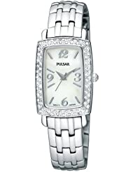 Pulsar Womens PTC505 Crystal Case Stainless-Steel Bracelet White Mother-of-Pearl Dial Watch