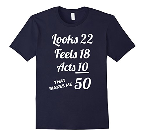 Mens FIFTY YEARS OLD T-SHIRT Birthday Present for 50 Year old Medium Navy