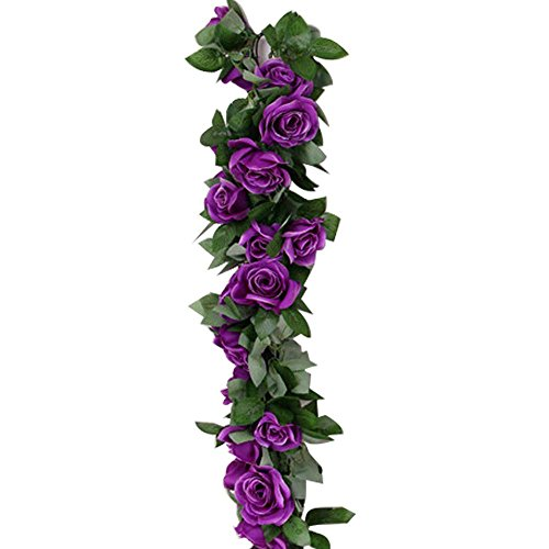 Aolvo 7.5FT/2.3M Artificial Rose Vines Fake Hanging Garland Silk Flowers Rose Vine Garland Fake Vines with 9 Flowers for Wedding Home Office Arch Arrangement Decoration - 2 PCS -