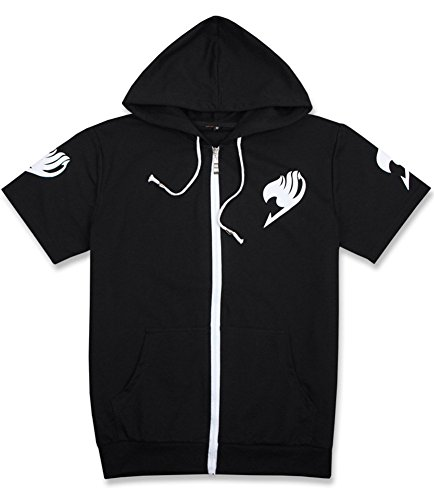 Gumstyle Fairy Tail Anime Zipper Hoodie Short Sleeve T-Shirt Adult Cosplay Jacket 1-XXL (Hoodie Fairy Xxl Tail)