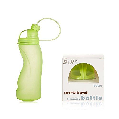 Leisu 500ml Bouteille d'eau pliable en Silicone de qualité alimentaire , Sans BPA, Bouteille étanche Pour les Activités en plein air, Sports, Voyages, Camping, cyclisme, fonctionnement, yoga etc