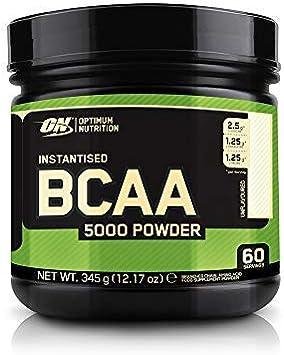 Optimum Nutrition BCAA 5000 en Polvo, Suplementos Deportivos, Rico en Aminoacidos Ramificados y Esenciales, Sin Azúcar, Sin Sabor, 60 Porciones, 345 g