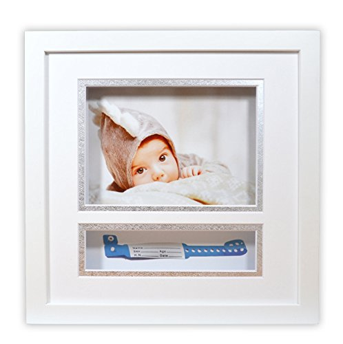 - Golden State Art Baby Frames Collection, 10x10-inch Baby Shadow Box Frame with White/Silver Double Mat and with ID Band Insert, White
