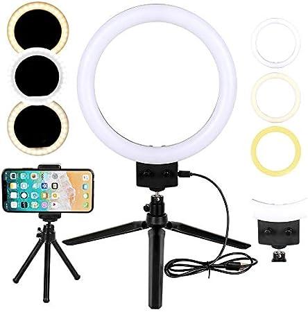 Todo para el streamer: Flybiz LED Luz de Anillo con Trípode Palillo de Selfie, Mini luz de Anillo LED de Escritorio Regulable de 10W 2800K-5500K, Video de Youtube y Maquillaje Selfie, Kit de Luces de Anillo