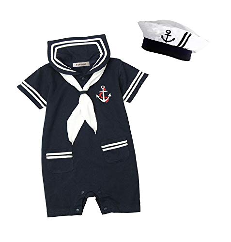 stylesilove Baby Boy Marine Sailor Costume Short Sleeve Romper Onesie with Hat 2 pcs Set (Navy Blue, 90/12-18 Months)