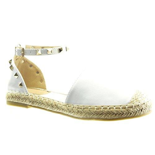 Chaussures De Mode Femmes Angkorly Espadrilles Sandales - Ouvert - Clouté - Carré - Bloc Cordon Talon 2,5 Cm Blanc