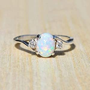 Naomi Exquisite Women's 925 Sterling Silver Ring Oval Cut Fire Opal Diamond Jewelry Birthday Proposal Gift Bridal…