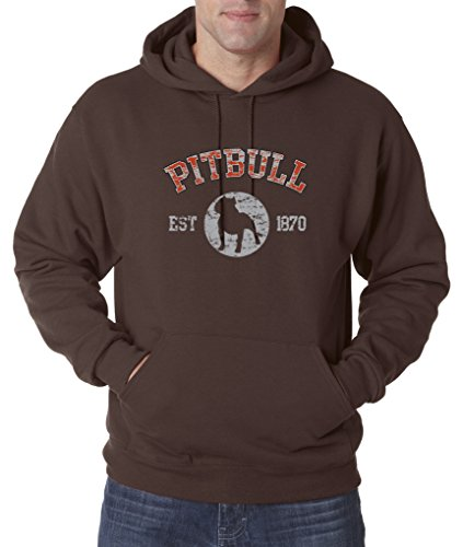 Pitbull Est 1870 Love Puppy Dog Family Pullover Hoodie S-3XL - Brown - (Dog Brown Hoodie)