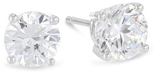 1/3 Carat Solitaire Diamond Stud Earrings 14K White Gold Round Brilliant Shape 4 Prong Push Back (I-J Color, VS1-VS2 Clarity) 14k Vs1 Earrings