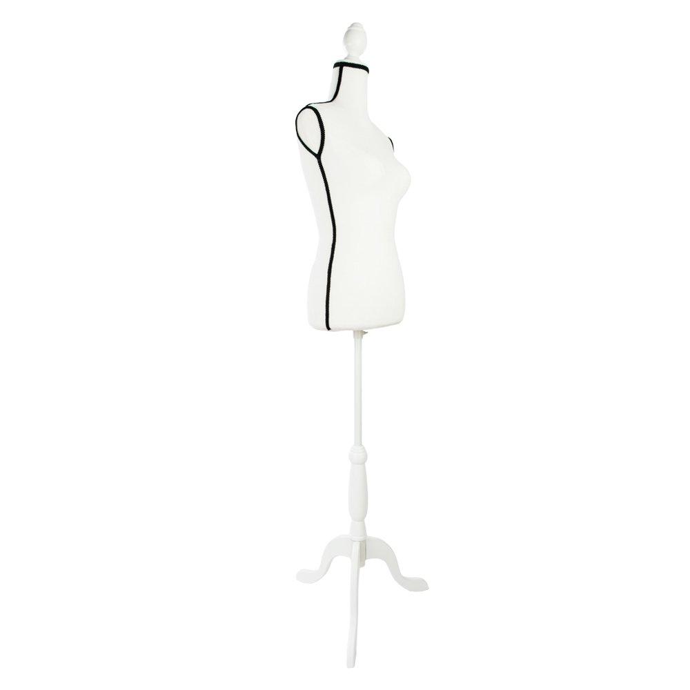 Stand Half-Length Model Fiberglass Lady Model for Clothing Display Creamy White & Black Edge