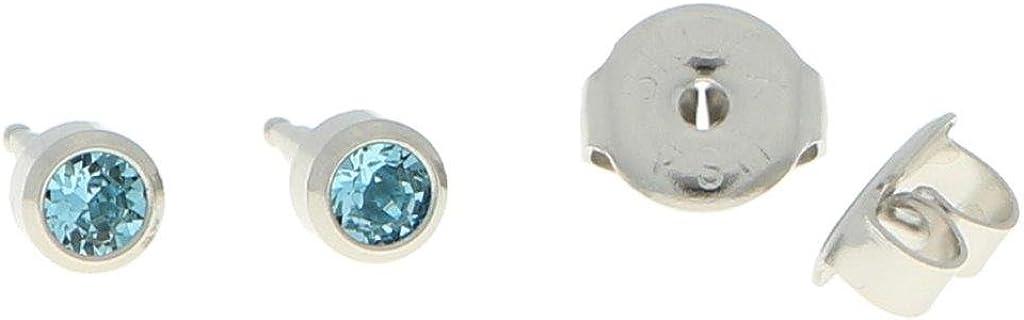 Erst Pendientes Acero Quirúrgico estériles Pendientes Aro con piedra en color azul claro