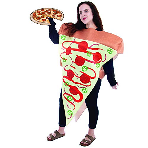 Boo Inc. Supreme Pizza Slice Halloween Costume | Adult Unisex Funny Food Outfit -