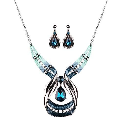 Diamondo Crystal Choker Chunky Statement Pendant Bib Necklace Earring Jewelry -
