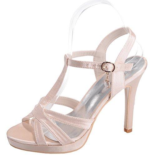 Loslandifen Donna Open Toe Cinturini Alla Caviglia Pompe Tessuto Stile Stiletto Tacchi Alti Da Sposa Scarpe Da Sposa Champagne