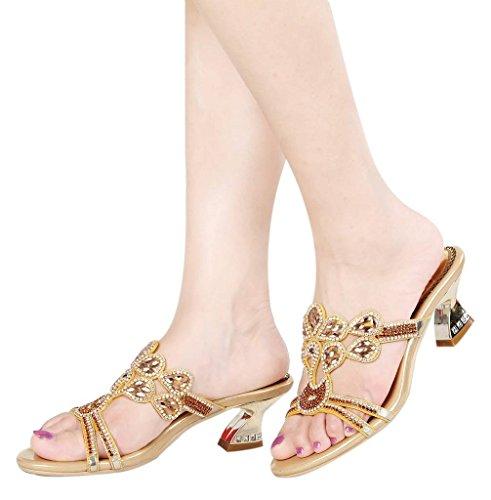 imitación de y Flores diseño de con Mujer Diamantes Dorado YooPrettyz para Tacón wxgq6X6Rv