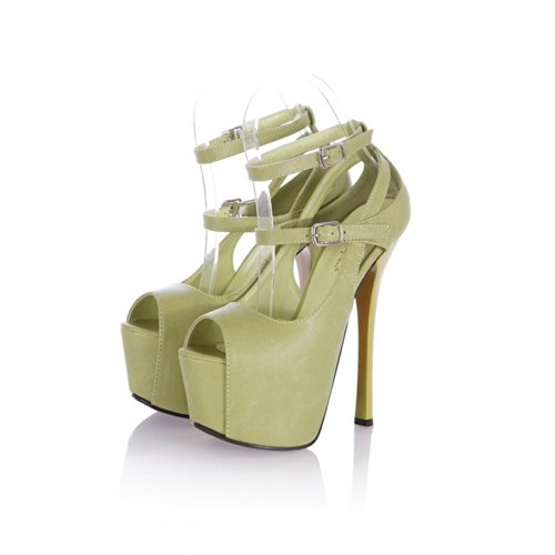 Material Soft 5 Sandals with 3 High VogueZone009 Solid UK Buckle PU Platform Stiletto Green Open Womens Toe Heel qwxfz8A