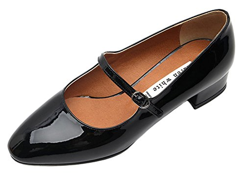 Karen White Womens Black Pumps Scarpe Basse In Vernice Nero Mary Jane Style Nere