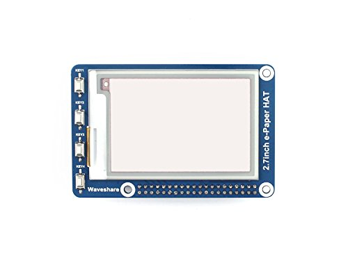 264x176 Three-color 2.7inch E-Ink Display HAT Tri-color E-paper Electronic Screen Panel SPI Interface Compatible for Raspberry Pi/STM32/Arduino by waveshare (Image #1)