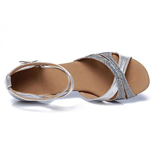 Latin Strap Fish Mouth Womens Xianshu Shoes Heel Pumps Sandals Mid Dancing Cross Sequins Silver Ankle Buckle YSx5R