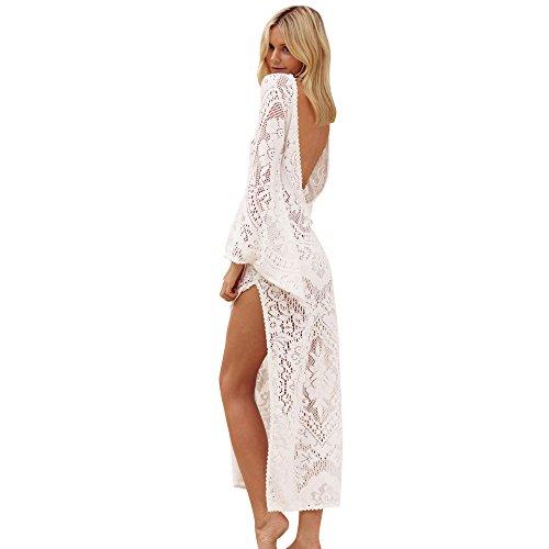 G-Real 2019 New Summer Womens Lace Crochet Bikini Beachwear Cover Up Beach Dress Summer Bathing Suit White ()