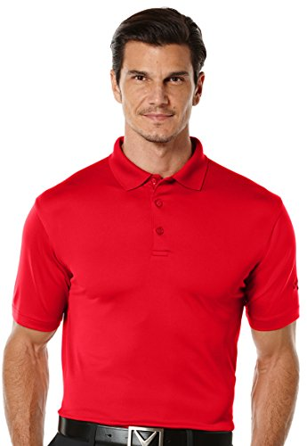 Callaway Men's Golf Performance Solid Short Sleeve Polo Shirt, Tango Red, XX-Large
