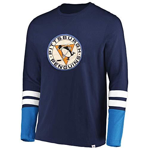 Long Sleeve Hockey Skates (Majestic NHL Men's The Vintage 5 Minute Major Flex Blend Long Sleeve T-Shirt (Small, Pittsburgh Penguins))
